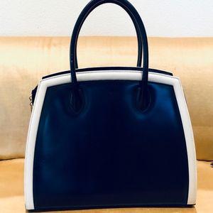 ESCADA Classic Vintage Leather Handle Navy Handbag